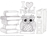 """""""I love to read"""" Owl and Books Coloring Page and Bookmarks"""