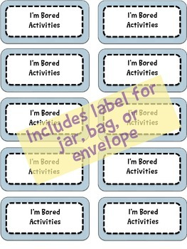 """I'm Bored"" Activities Year-End Summer Family or Student Gift - Customizable"