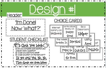 """""""I'm Done! Now What?"""": Early Finishers Choice Board"""