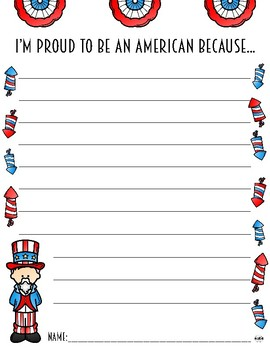 """I'm Proud To Be An American"" Writing Prompt Paper"
