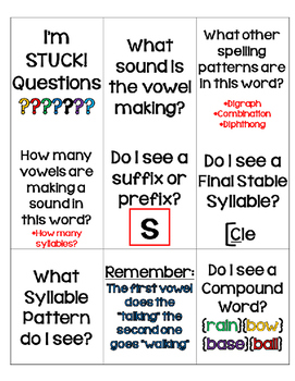 """I'm Stuck!"" Questions Cards {Editable}"