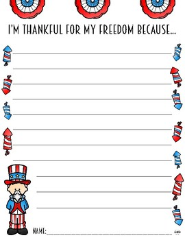 """""""I'm Thankful For My Freedom"""" Writing Prompt Paper"""