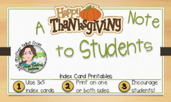 """""""I'm Thankful for You"""" Thanksgiving Note Card - Index Card"""