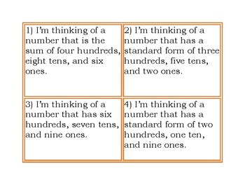 """I'm Thinking of a Number"" Activity - Understanding Place Value"