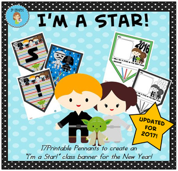 """""""I'm a Star!"""" Class Pennant Banner for the New Year with W"""