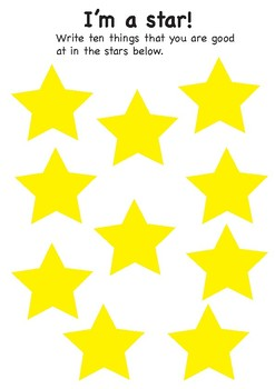 'I'm a star!' worksheet