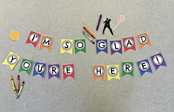 """""""I'm so glad you're here"""" Rainbow Classroom Banner"""