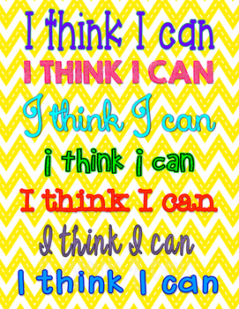 """I think I can"" poster"