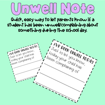 """I've Been Unwell"" Diary sized note"