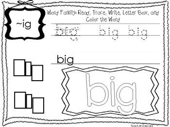 ~IG Word Family Worksheets Worksheets. Preschool-1st Grade Phonics.