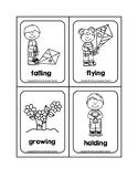 -ING Verb Spring Picture Word B&W Flash Cards