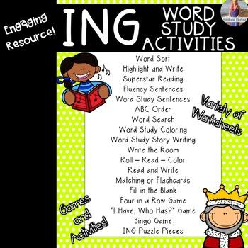-ING Welded/Glued Sound: Activities, Games, Worksheets
