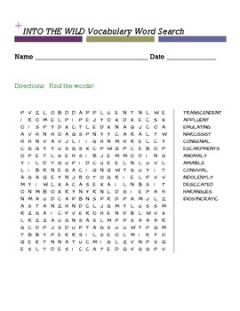 INTO THE WILD Vocabulary Word Search
