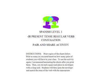 -IR PRESENT TENSE VERB CONJUGATION PAIR AND SHARE ACTIVITY
