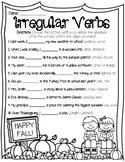 ***IRREGULAR VERBS PAST PRESENT FUTURE TENSE FILL IN THE BLANK WORKSHEET***