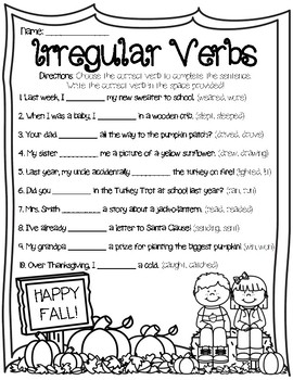 Verb Tense Fill In The Blank Worksheets & Teaching Resources   TpT