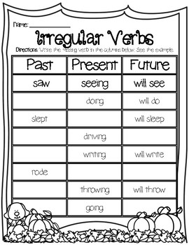 Verbs For Past Present Future Worksheets & Teaching