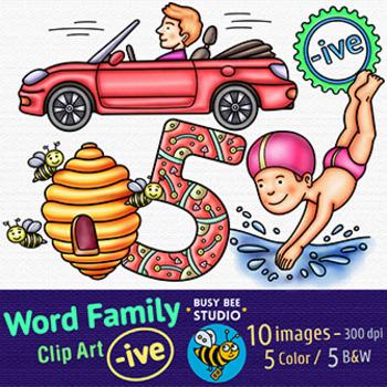 """-IVE"" Word Family Clip Art | Magic E Clipart"