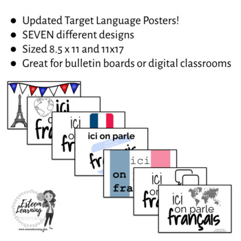 """French - Target Language Posters - """"Ici On Parle Français"""""""
