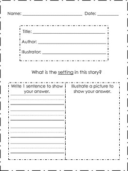 Identify the Setting! Leveled Worksheets, Book Reports!