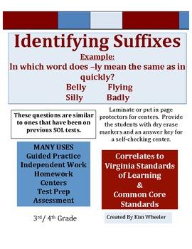 * Identifying Suffixes - Common Core & VA SOL correlated - TEST PREP *
