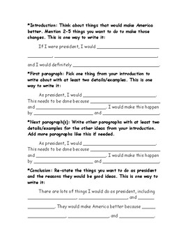 """""""If I Were President"""" Brainstorming Graphic Organizer and Supported Draft"""