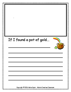 """""""If I found a pot of gold..."""" Writing paper and graphic organizer"""