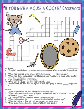 If You Give a Mouse a Cookie Activities Laura Numeroff Crossword & Word Search