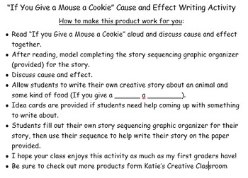 """If You Give a Mouse a Cookie"" cause and effect writing activity"