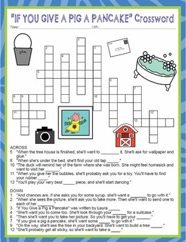 If You Give a Pig a Pancake Activities Laura Numeroff Crossword & Word Search
