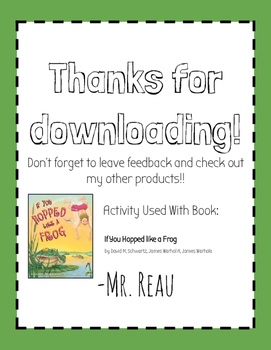 """""""If You Hopped Like a Frog"""" Book Activity -Integrates Literacy & Proportions"""