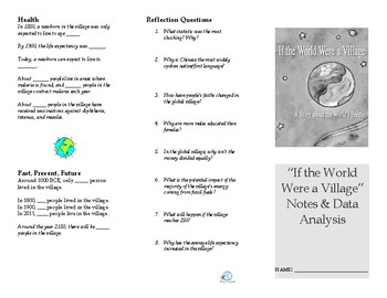 """If the World Were a Village"" Notes & Data Analysis Brochure Activity"