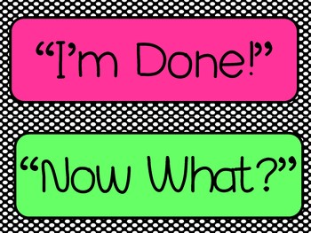 """""""Im Done! Now What?"""" Poster Set-EDITABLE!"""