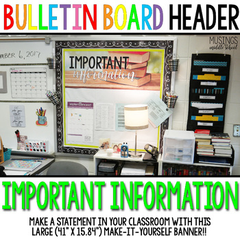 """Important Information"" Large Banner Classroom Decoration"