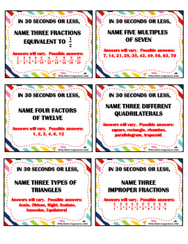 """""""In 30 Seconds or Less"""" Math Game - Fractions, Integers, Decimals, Geometry"""
