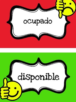 """In Use / Available"" Sign / Letrero ""Ocupado / Disponible"""