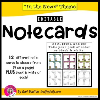 """""""In the News"""" EDITABLE Note Cards"""