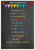"""""""When you enter this classroom you are..."""" inspirational poster"""