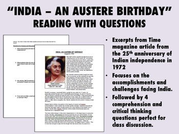"""""""India - An Austere Birthday"""" - Global/World History"""