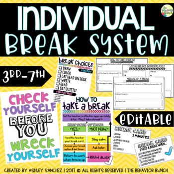 BREAK SYSTEM {Individual} - Big Kids - Tier 2/3 *EDITABLE*