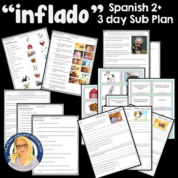 """""""Inflado"""" 3 day Video-based Lesson / Sub Plan for Spanish 2 or higher"""