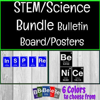"""Inspire"" & ""Be Nice"" Element STEM/STEAM Science Bulletin Board Posters Bundle"