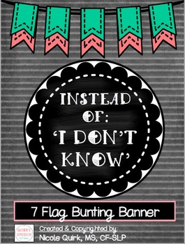 """Instead of I Don't Know"" 7 pc Bunting Banner - Mint Coral Chalkboard"