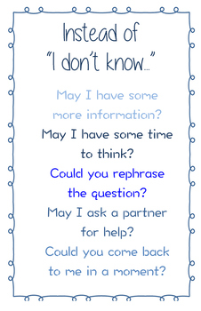 """""""Instead of I Don't Know..."""" Poster"""