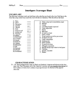 """Interlopers"" Vocabulary Scavenger Hunt and Characterization - with KEY"