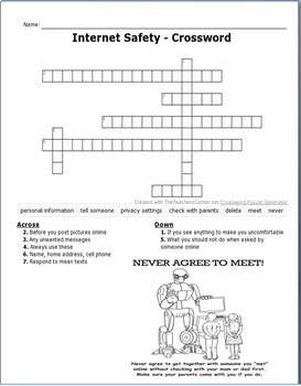 """""""Internet Safety Guidelines for Kids"""" Lesson, crossword puzzle, Quiz/activity"""
