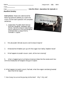 """Into the West"" TNT miniseries - Episode 2 - Manifest Destiny video questions"