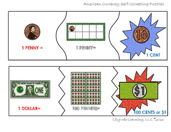 **Intro to Money- full SAMPLE- (Self-Correcting Puzzles) From LilyVale Learning