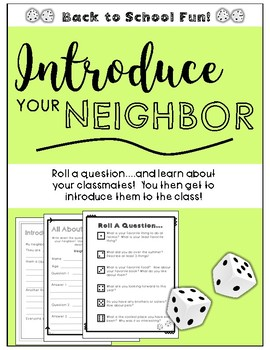 **Introduce Your Neighbor** Back to School Classroom Fun