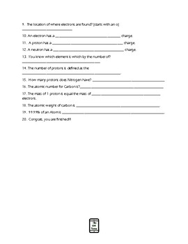 """""""Introduction to the Atom"""" Video Worksheet"""